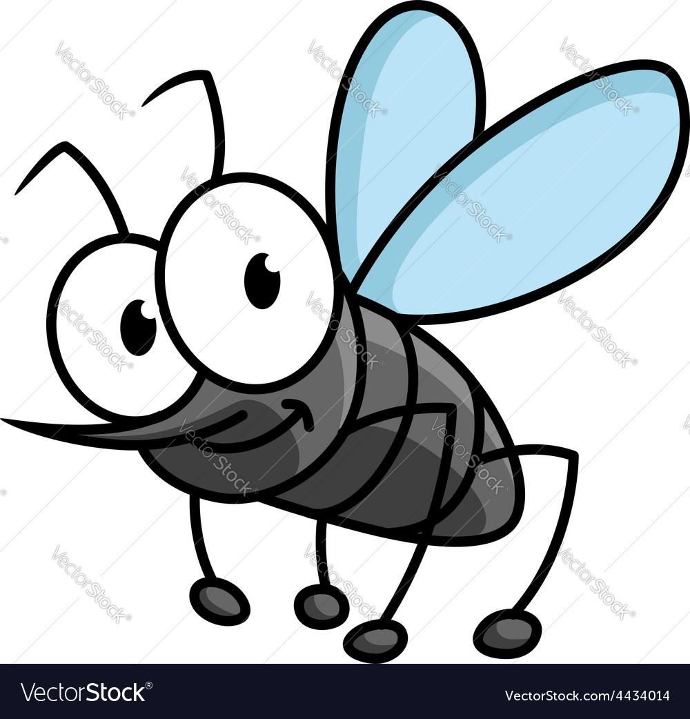 Funny smiling gray mosquito cartoon character vector | Price: 1 Credit (USD $1)