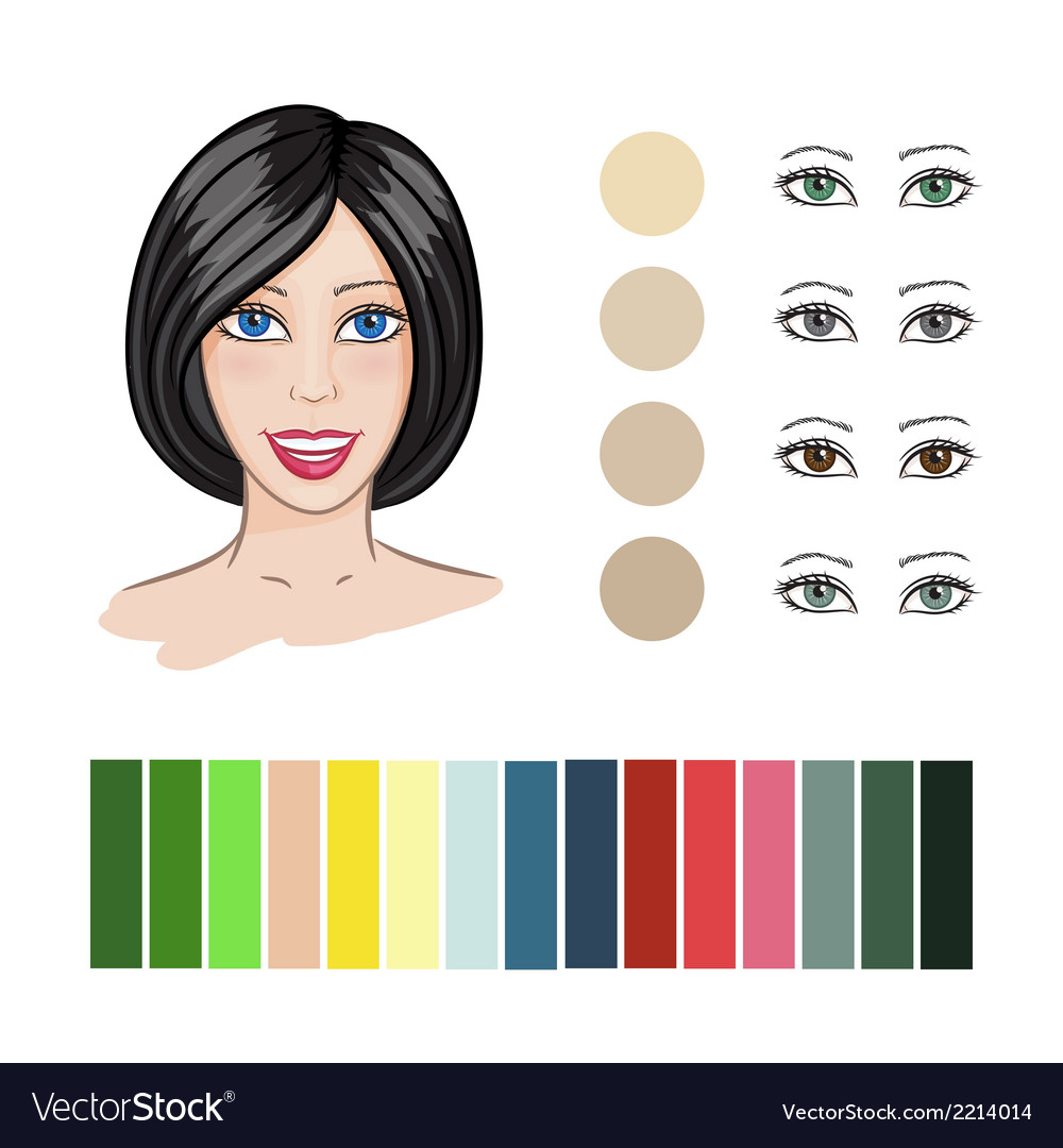 Hair color match vector | Price: 1 Credit (USD $1)