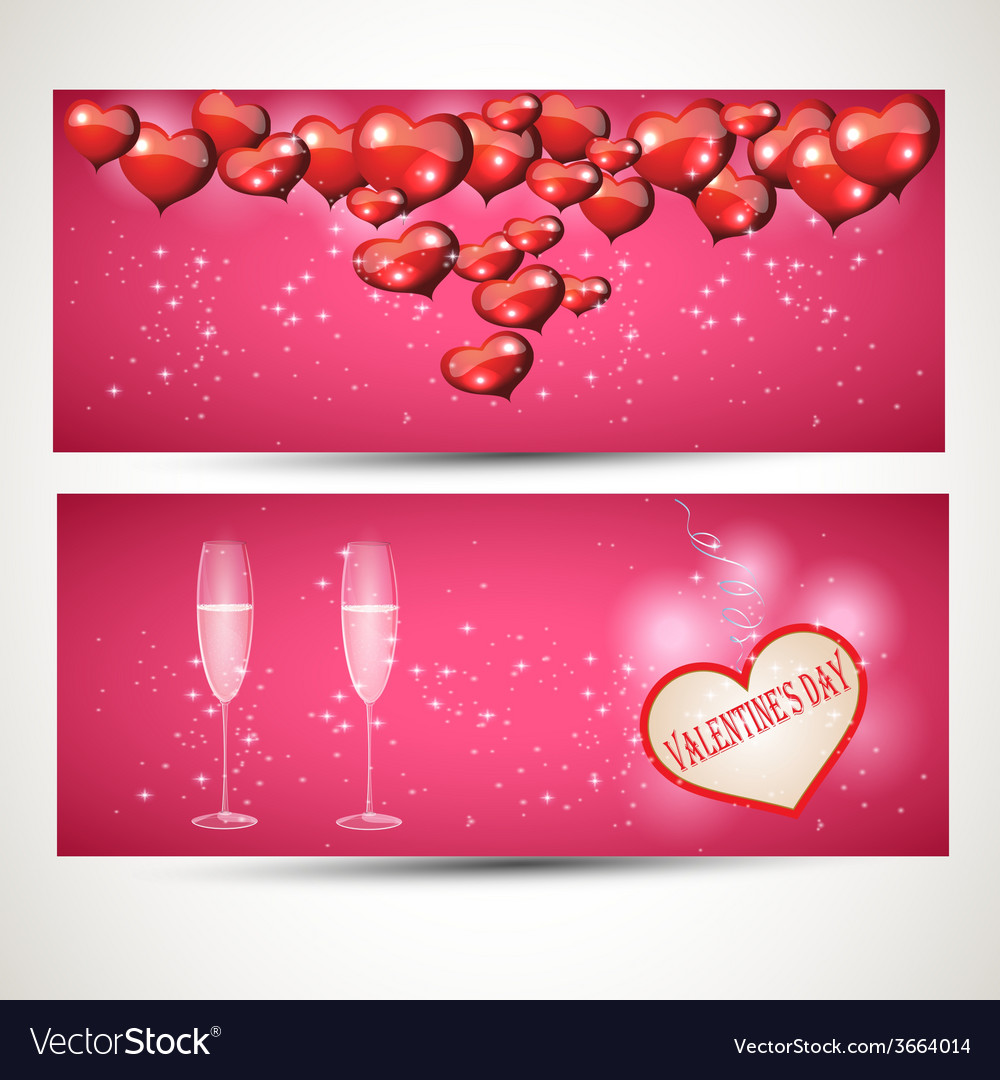 Horizontal flyers with glasses and a heart with a vector | Price: 1 Credit (USD $1)