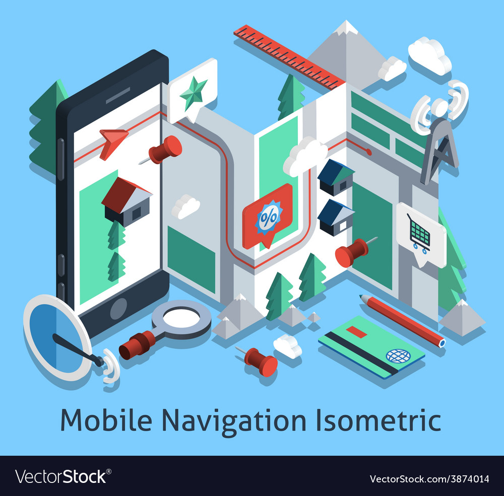 Mobile navigation isometric vector | Price: 1 Credit (USD $1)