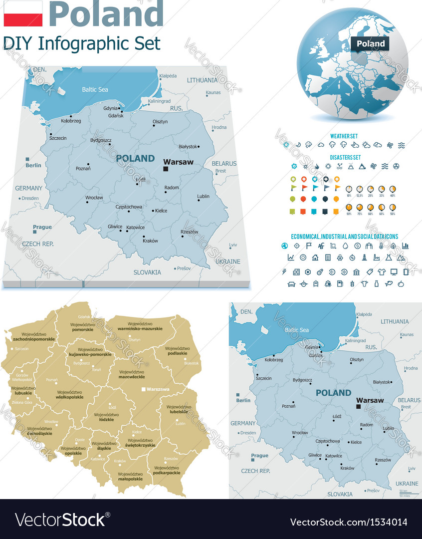 Poland maps with markers vector | Price: 3 Credit (USD $3)