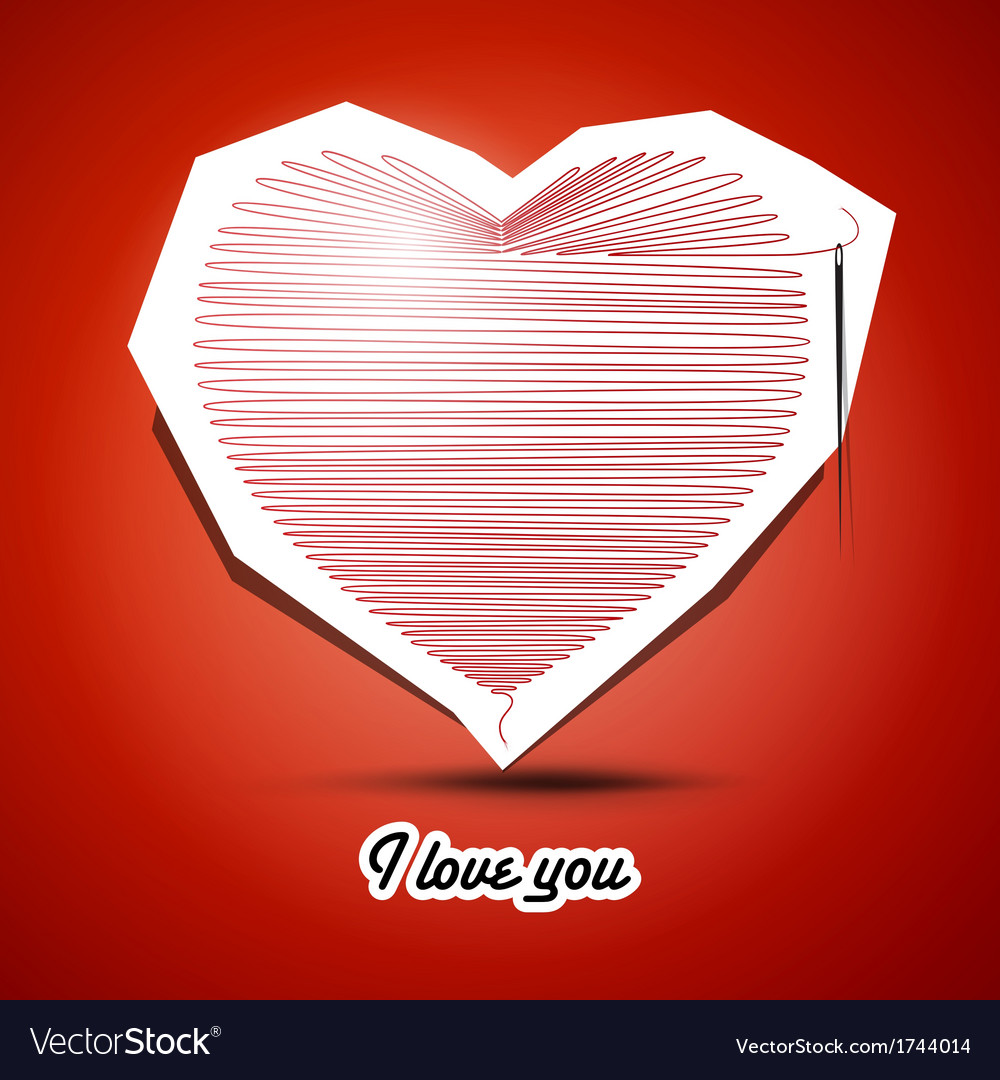 Red string heart with needle on the end and i love vector | Price: 1 Credit (USD $1)