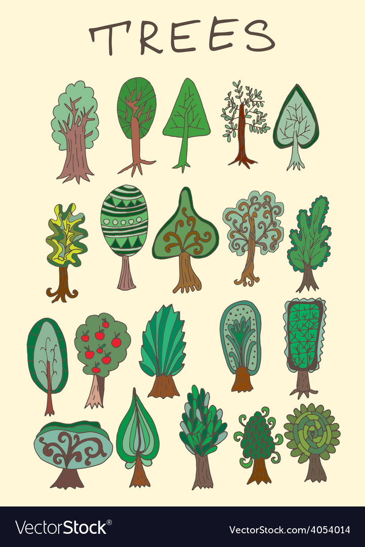 Set of hand-drawn doodle forest tree vector   Price: 1 Credit (USD $1)