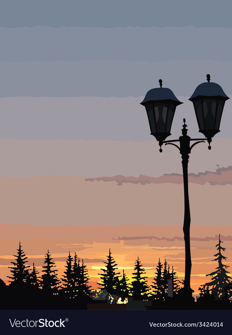 Silhouette of street lights and trees at sunset vector | Price: 3 Credit (USD $3)