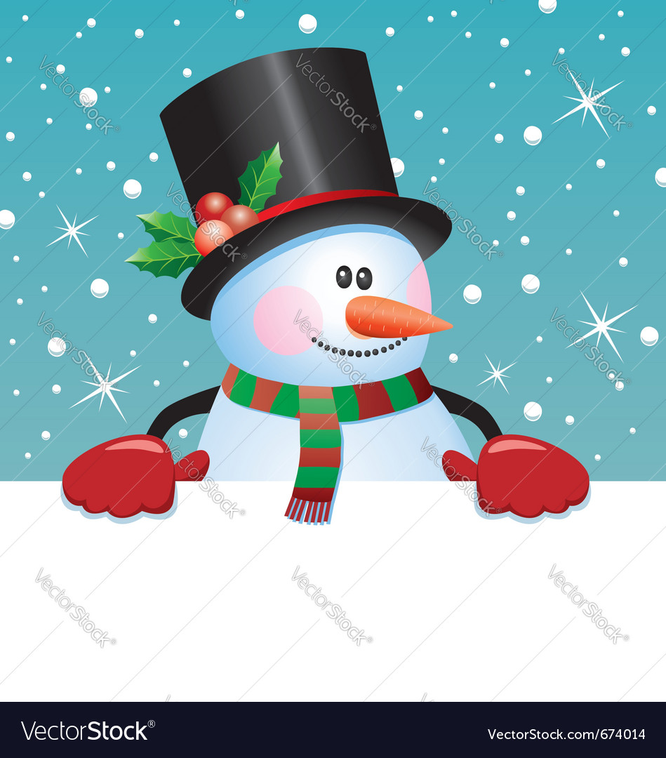 Snowman holding blank paper vector | Price: 3 Credit (USD $3)