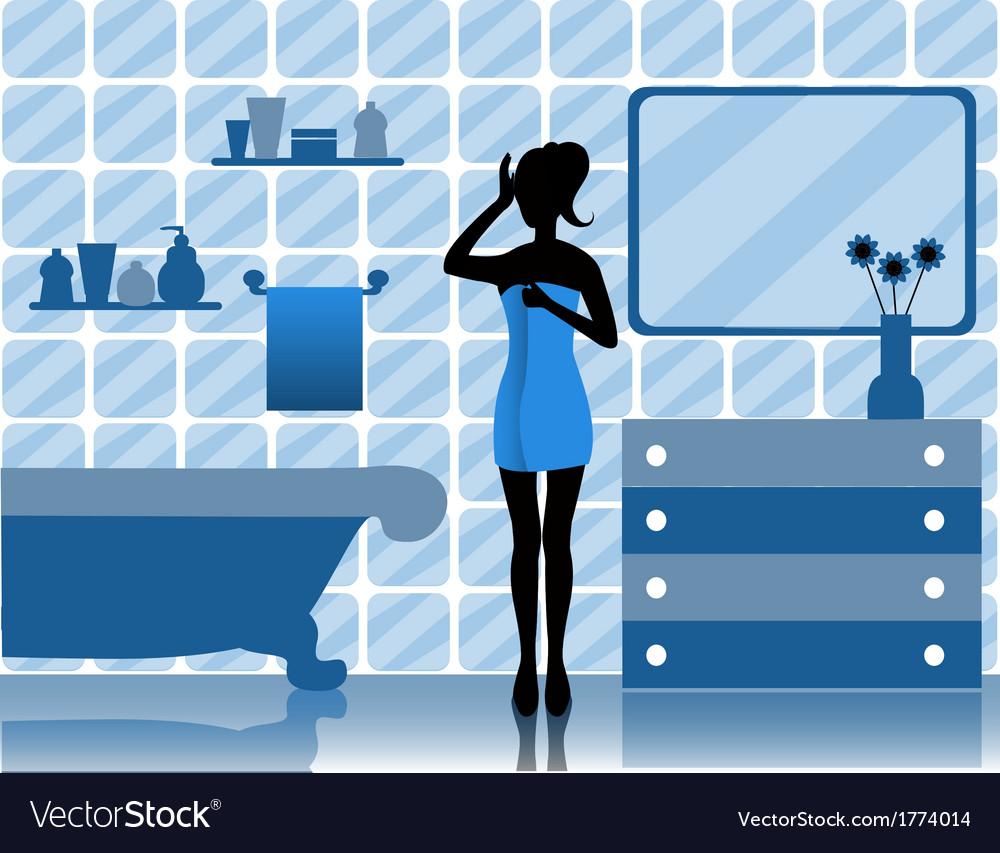 Woman in bathroom vector | Price: 1 Credit (USD $1)