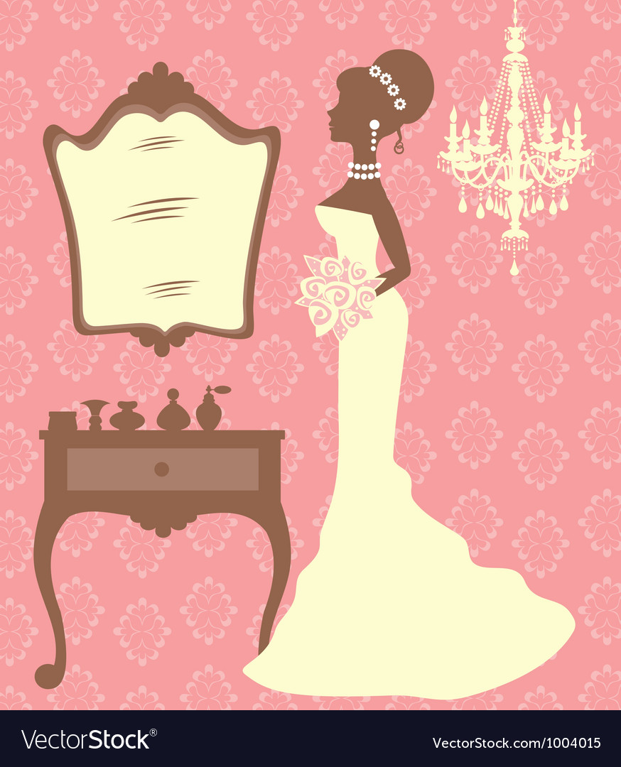 Beautiful bride in dressing room vector | Price: 1 Credit (USD $1)