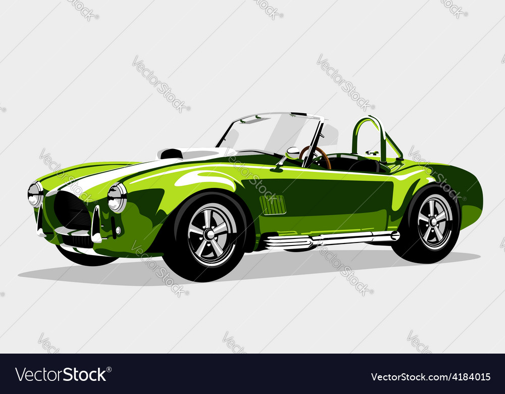 Classic sport green car ac shelby cobra roadster vector | Price: 1 Credit (USD $1)