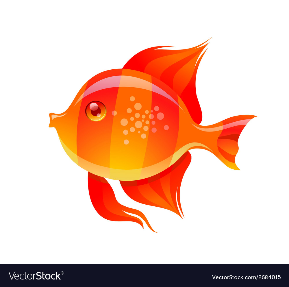 Cute golden fish cartoon vector | Price: 1 Credit (USD $1)