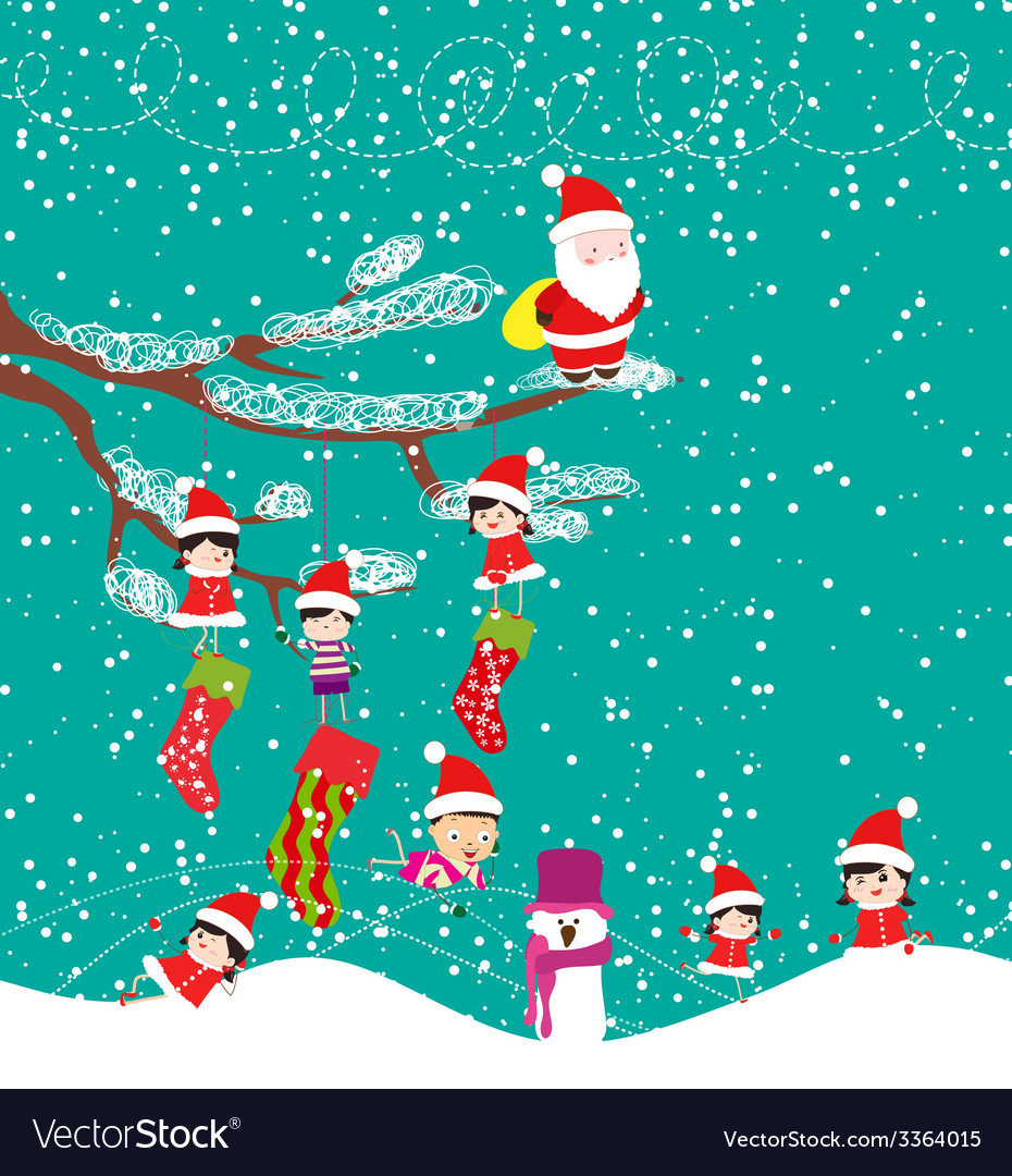 Kids with santa claus enjoying christmas vector | Price: 1 Credit (USD $1)