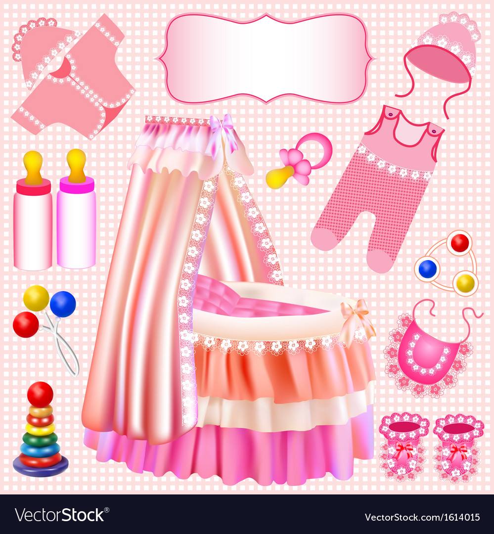 Pink set of childrens cradle beanbag vector | Price: 1 Credit (USD $1)