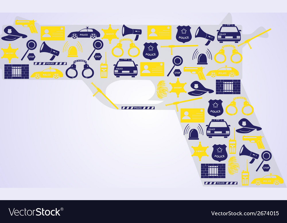 Police icons in a gun shape eps10 vector | Price: 1 Credit (USD $1)