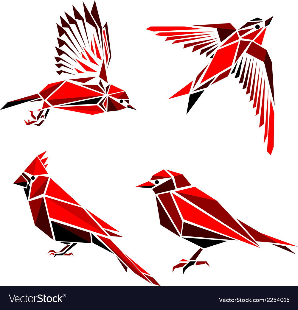 Set of four red triangle formed birds vector | Price: 1 Credit (USD $1)