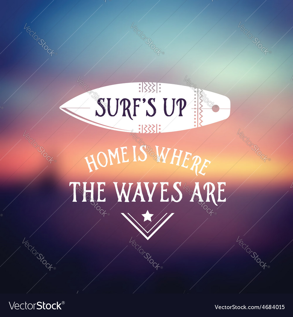 Surf vintage retro poster hawaii beach wave banner vector | Price: 1 Credit (USD $1)