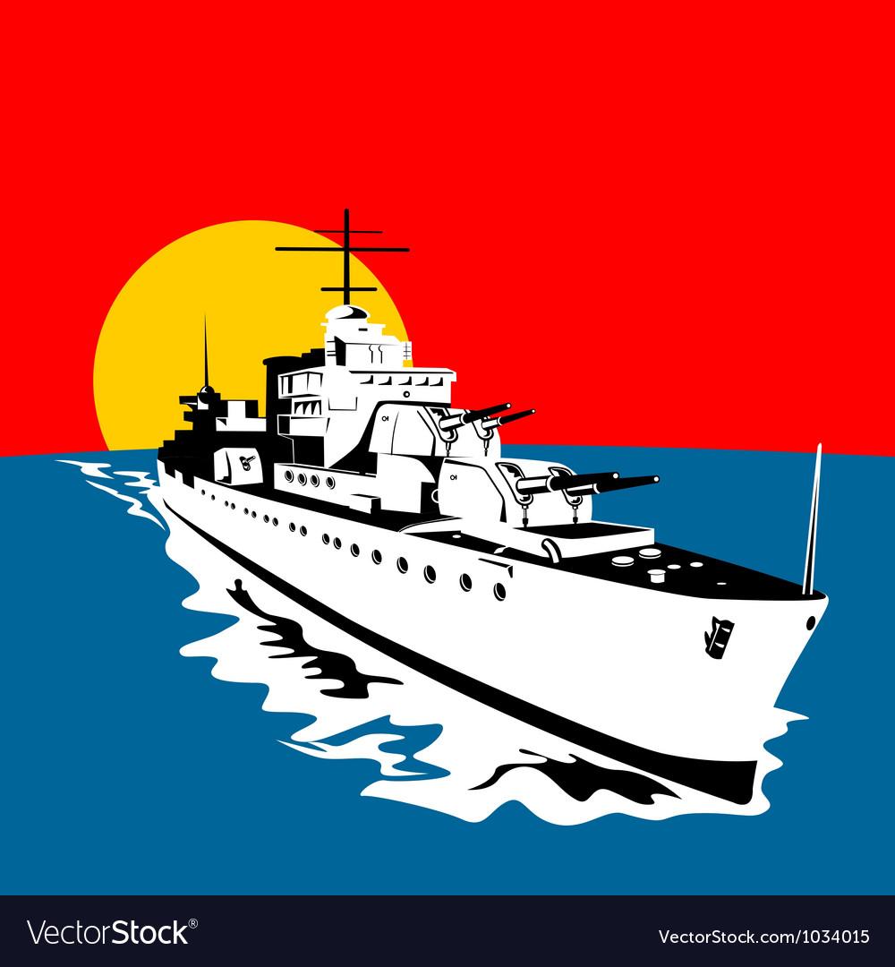 World war two battleship warship cruiser retro vector   Price: 1 Credit (USD $1)