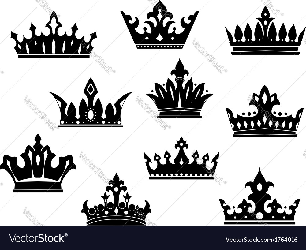 Black heraldic crowns set vector | Price: 1 Credit (USD $1)