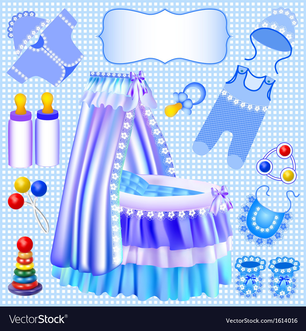 Blue set of childrens cradle vector | Price: 1 Credit (USD $1)