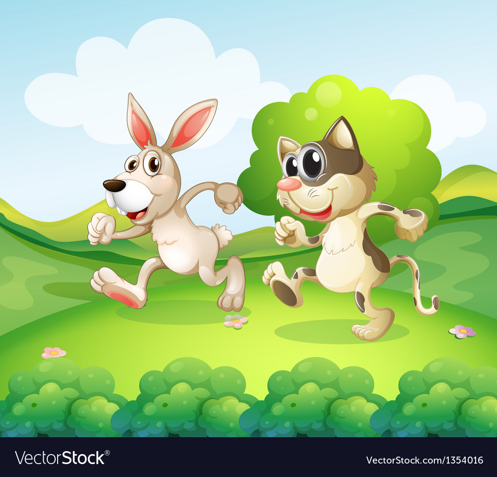 Cartoon cat bunny vector | Price: 1 Credit (USD $1)