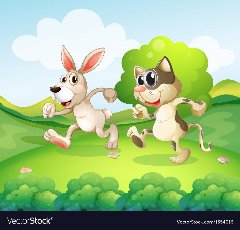Cartoon cat bunny vector | Price: 1 Credit (USD $1)