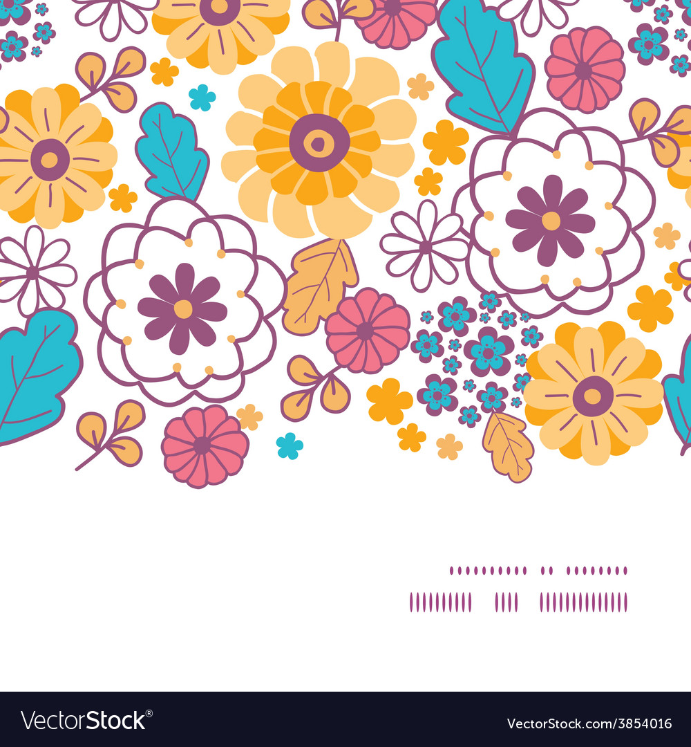 Colorful oriental flowers horizontal frame vector | Price: 1 Credit (USD $1)