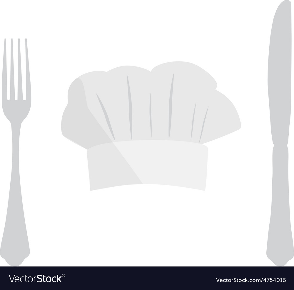 Cook hat fork and knife vector | Price: 1 Credit (USD $1)