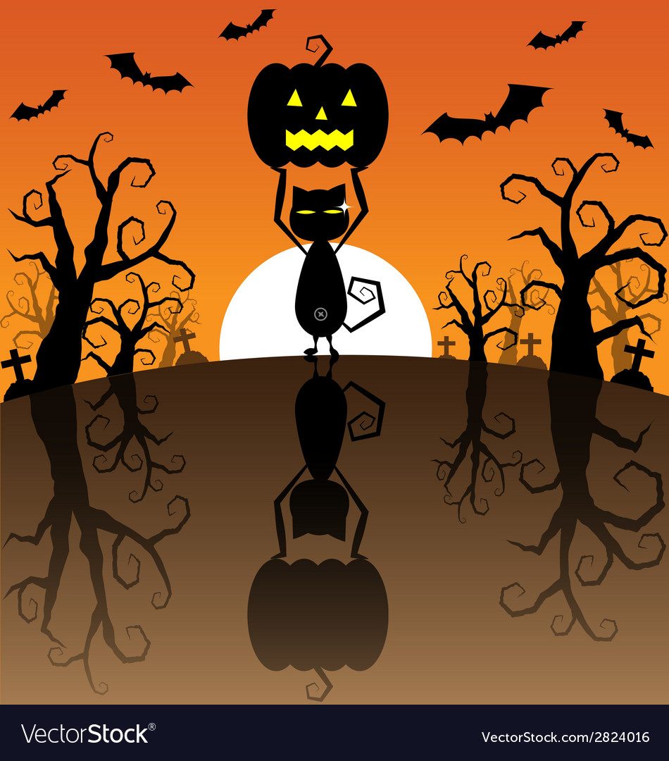 Halloween background with pumpkins and black cat vector | Price: 1 Credit (USD $1)
