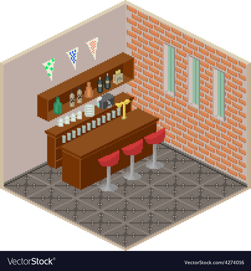 Isometric bar interior vector | Price: 1 Credit (USD $1)