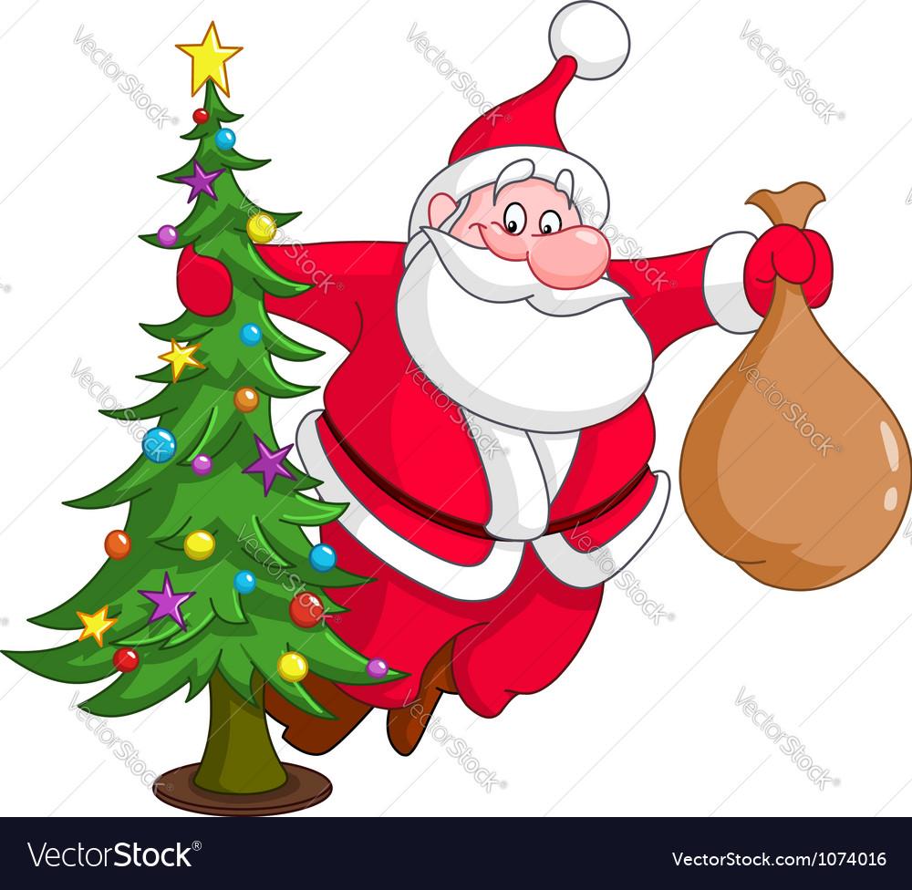 Santa with christmas tree vector | Price: 1 Credit (USD $1)
