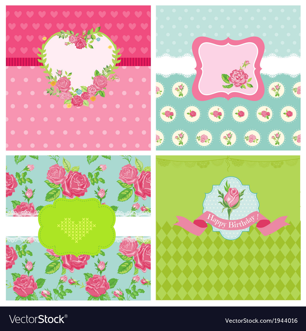 Set of floral card - floral shabby chic theme vector | Price: 1 Credit (USD $1)