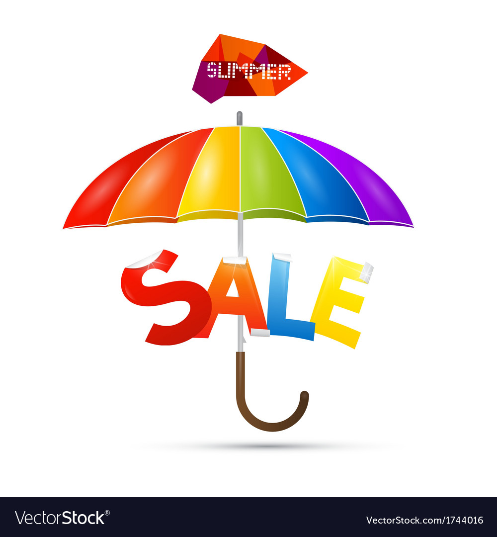 Summer sale theme with colorful umbrella vector | Price: 1 Credit (USD $1)