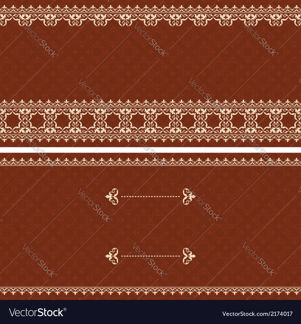 Brown card with beige ornament vector | Price: 1 Credit (USD $1)