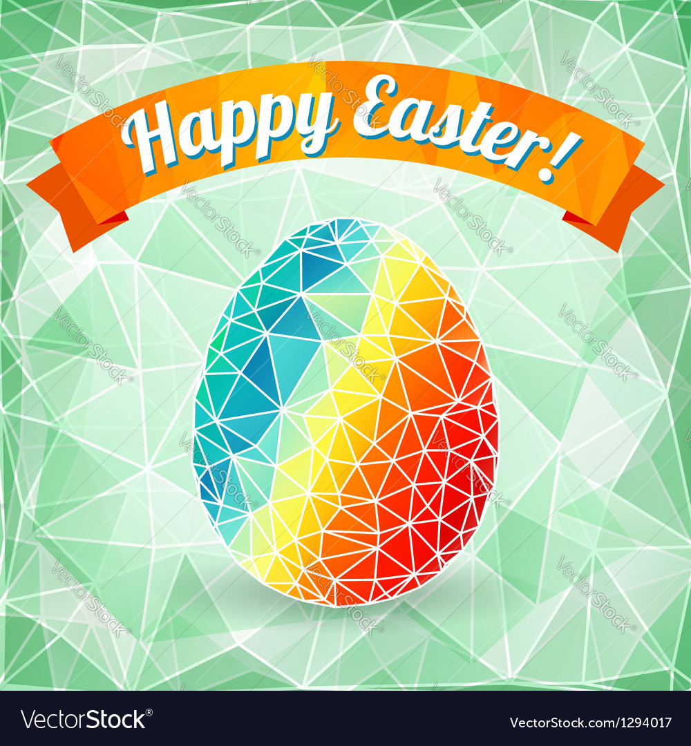 Colorful easter egg on polygonal background vector | Price: 1 Credit (USD $1)