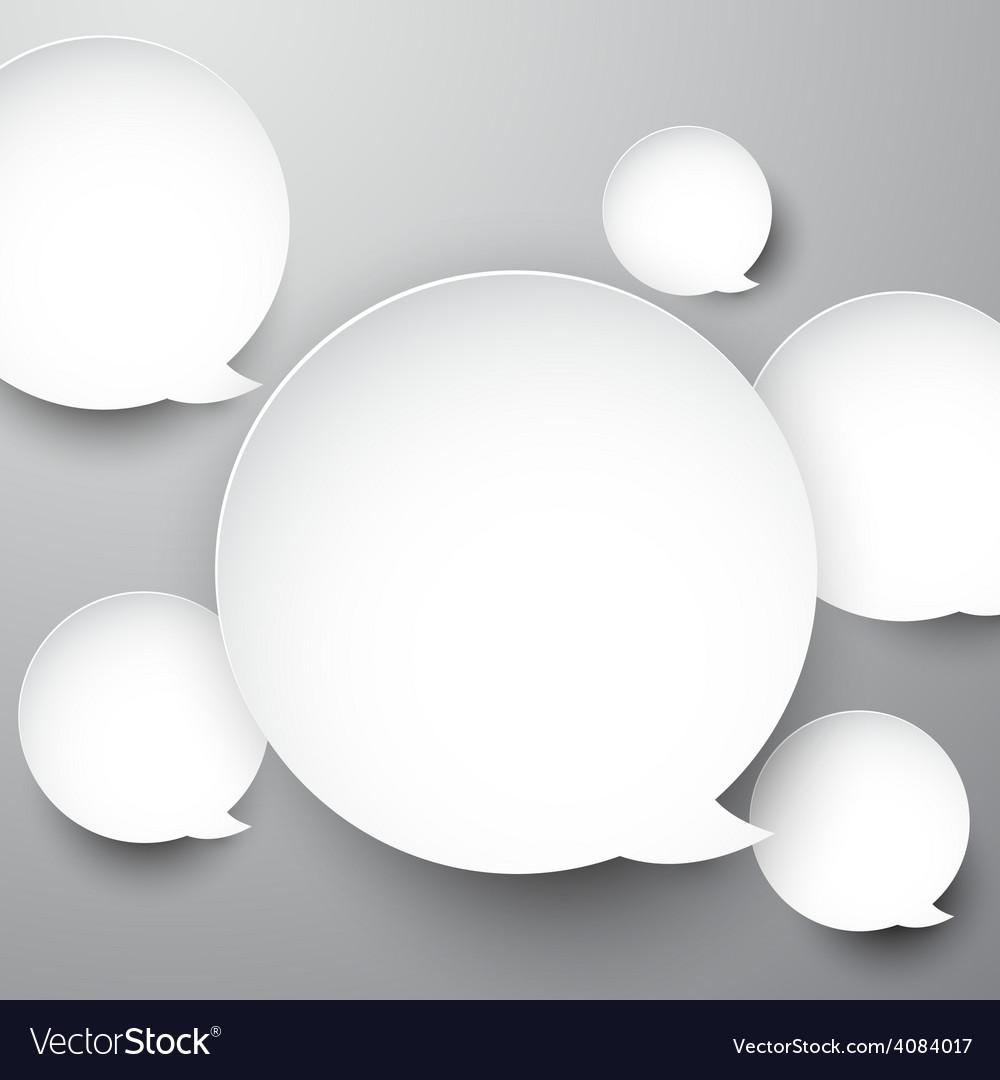 Paper white round speech bubbles vector | Price: 1 Credit (USD $1)
