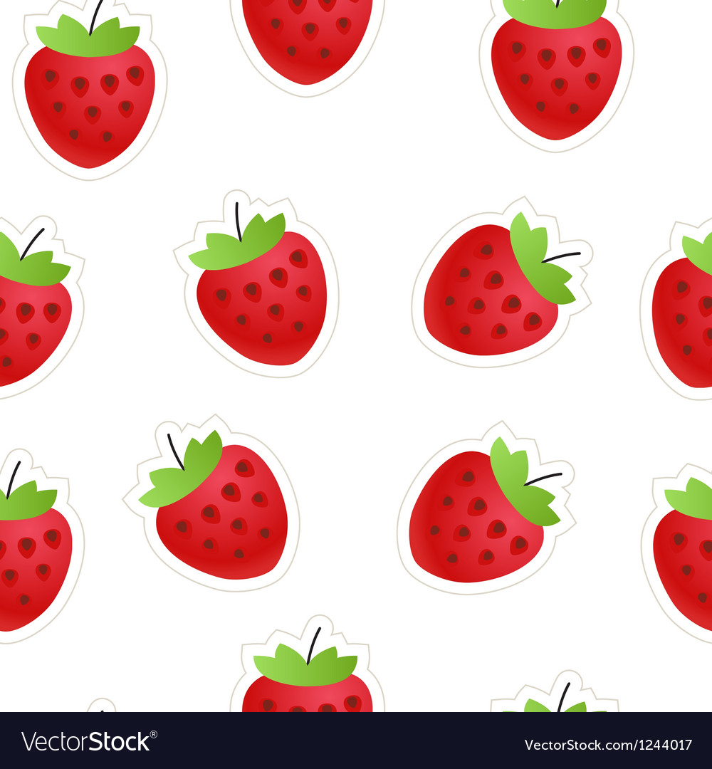 Red strawberry seamless background vector | Price: 1 Credit (USD $1)