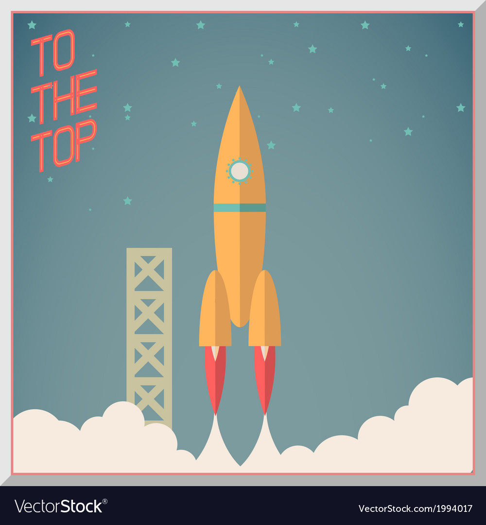 Retro flat design rocket start space stars vector | Price: 1 Credit (USD $1)