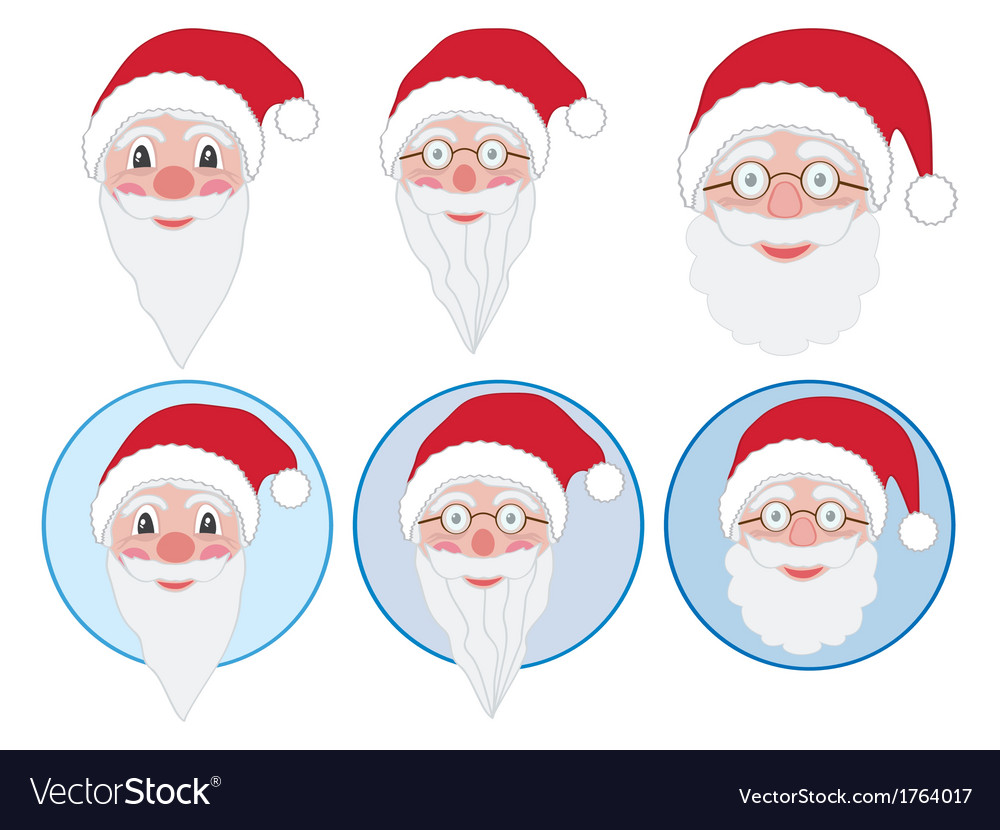 Santa faces vector | Price: 1 Credit (USD $1)