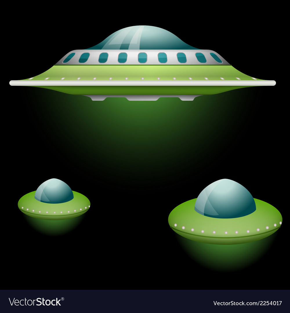 Set of cartoon flying saucers vector | Price: 1 Credit (USD $1)