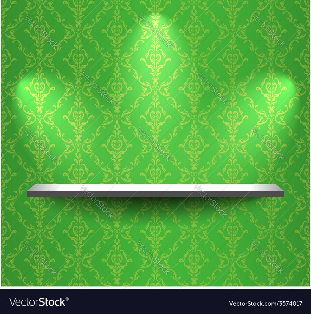 Shelf on the green wall vector | Price: 1 Credit (USD $1)