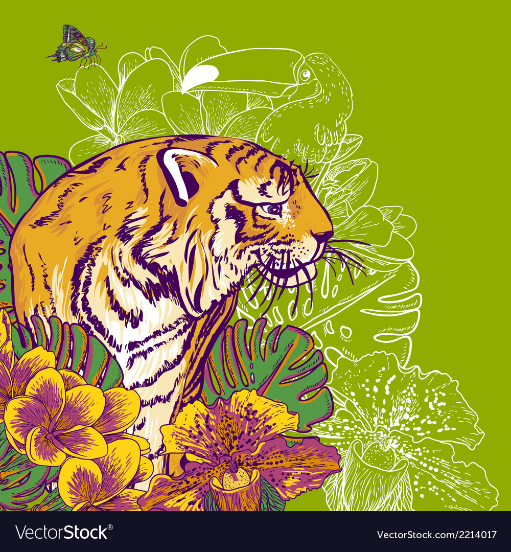 Tropical exotic floral background with tiger vector | Price: 1 Credit (USD $1)