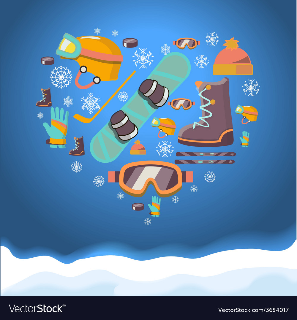 Winter sports background with snowboard equipment vector | Price: 1 Credit (USD $1)