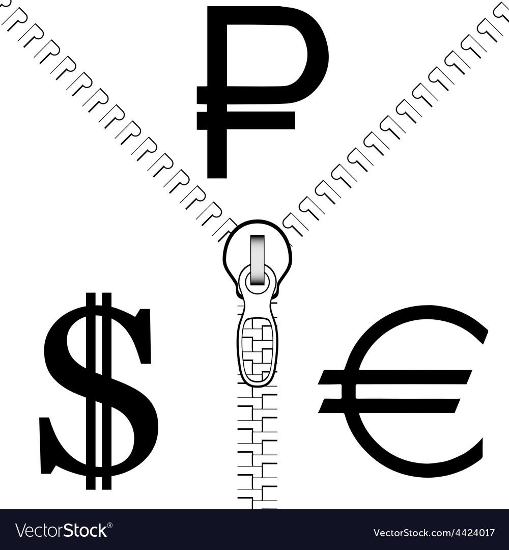 Zipper rouble euro dollar vector