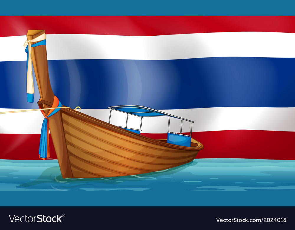 A boat in front of the thai flag vector | Price: 3 Credit (USD $3)