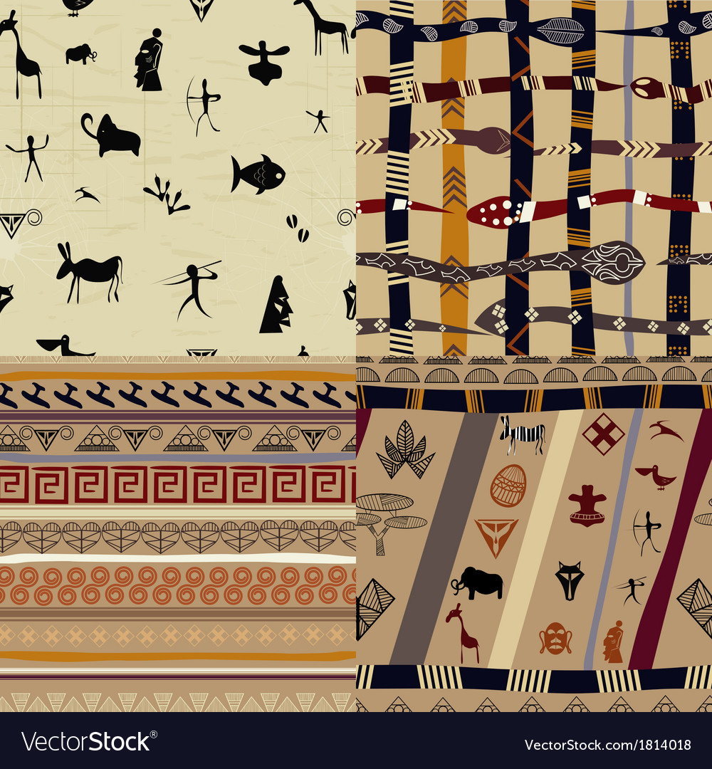 A set of patterns primitive tribal painting vector | Price: 1 Credit (USD $1)
