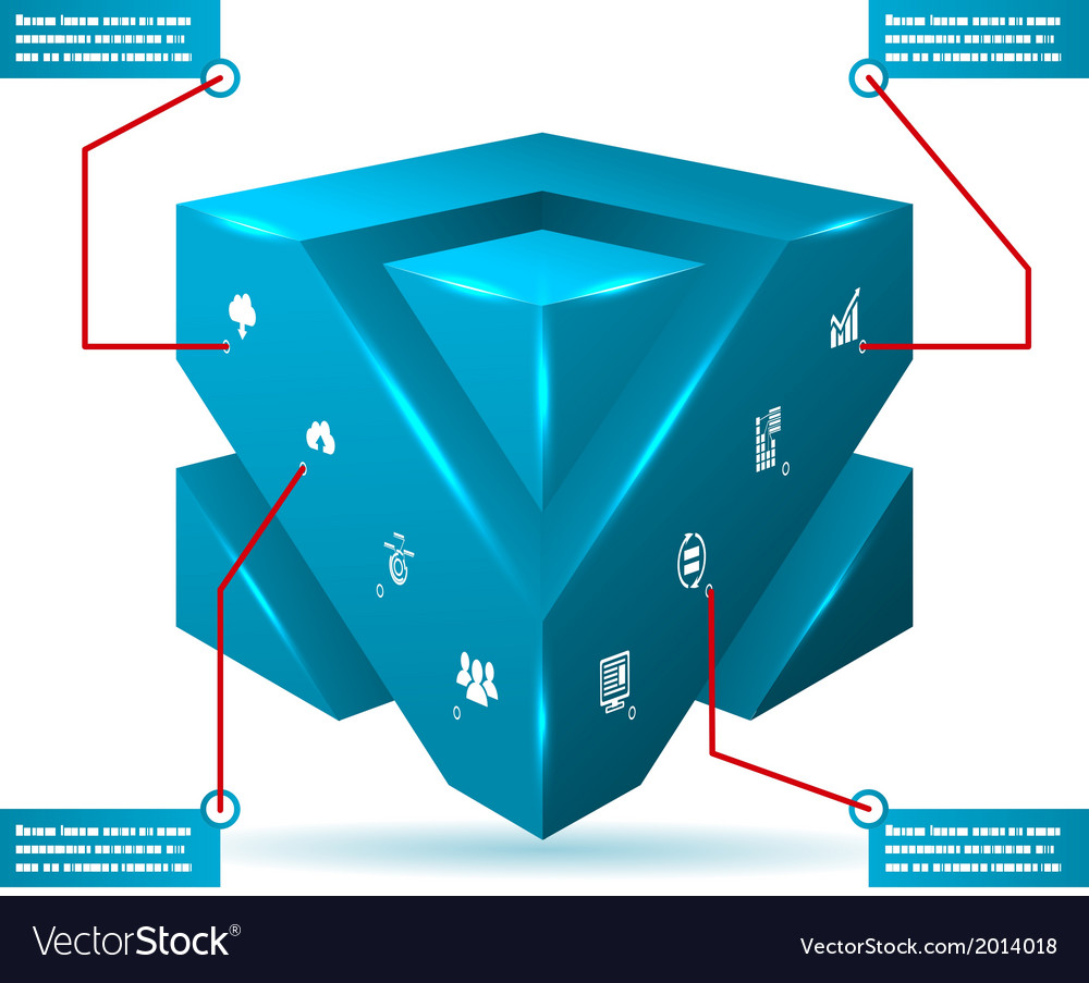 Abstract 3d cube isolated infographic with vector   Price: 1 Credit (USD $1)