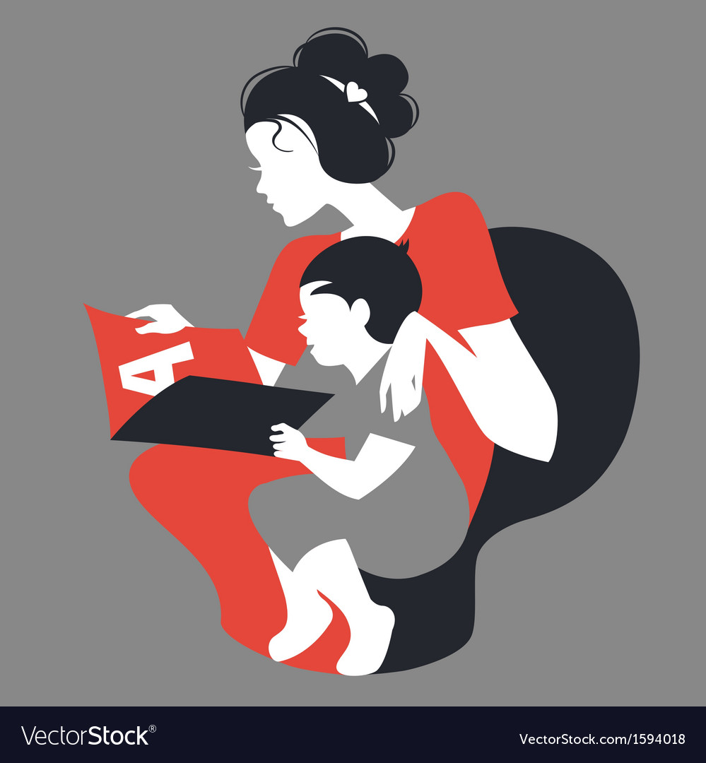 Beautiful silhouette of mother and baby reading vector | Price: 1 Credit (USD $1)