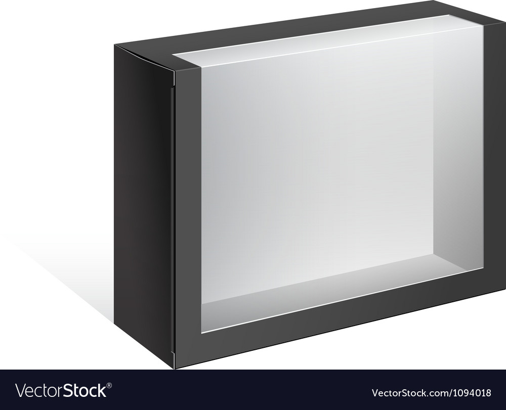 Black package box with a transparent window vector | Price: 1 Credit (USD $1)