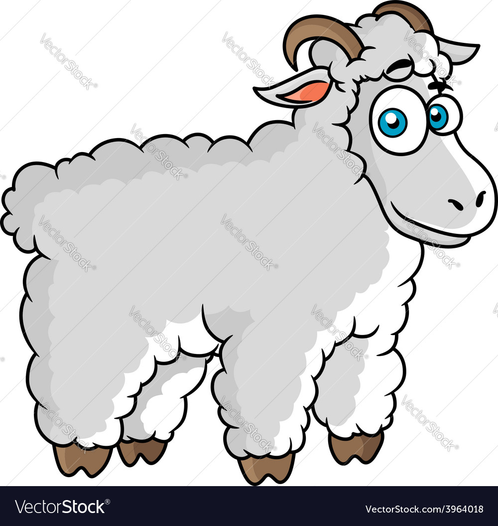 Cartoon farm sheep character vector | Price: 1 Credit (USD $1)
