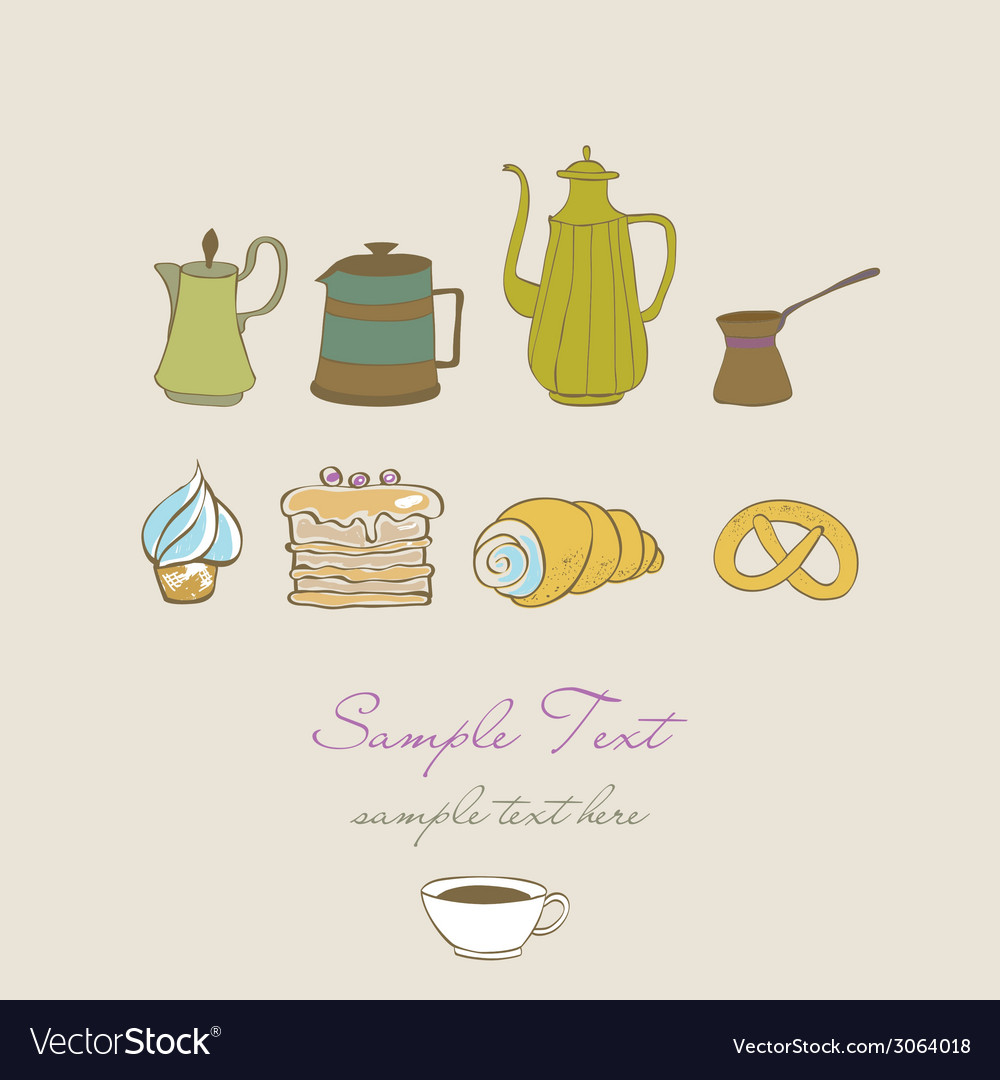 Coffe tea and sweet vector | Price: 1 Credit (USD $1)