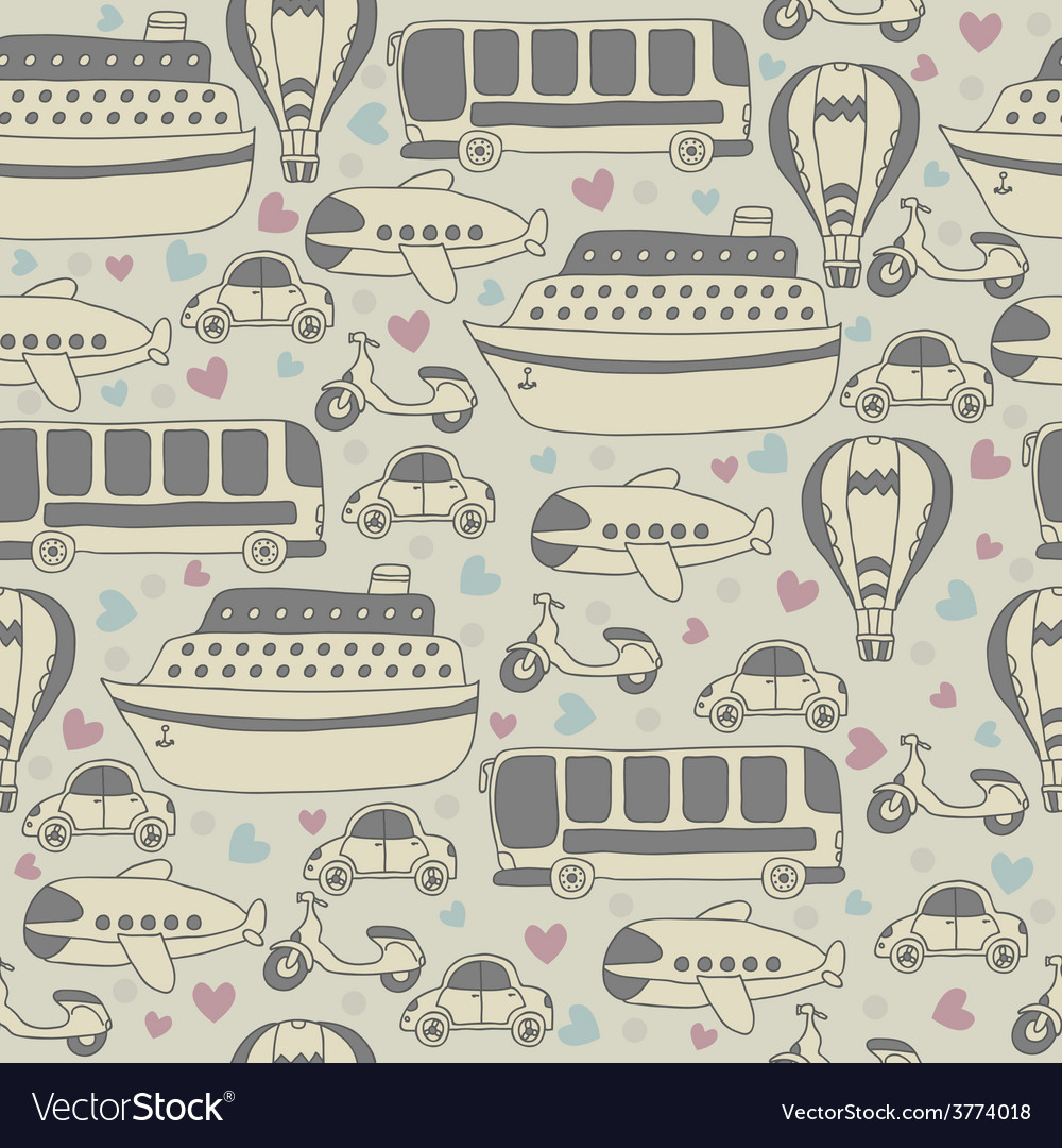 Cute seamless pattern with transport cartoon vector | Price: 1 Credit (USD $1)