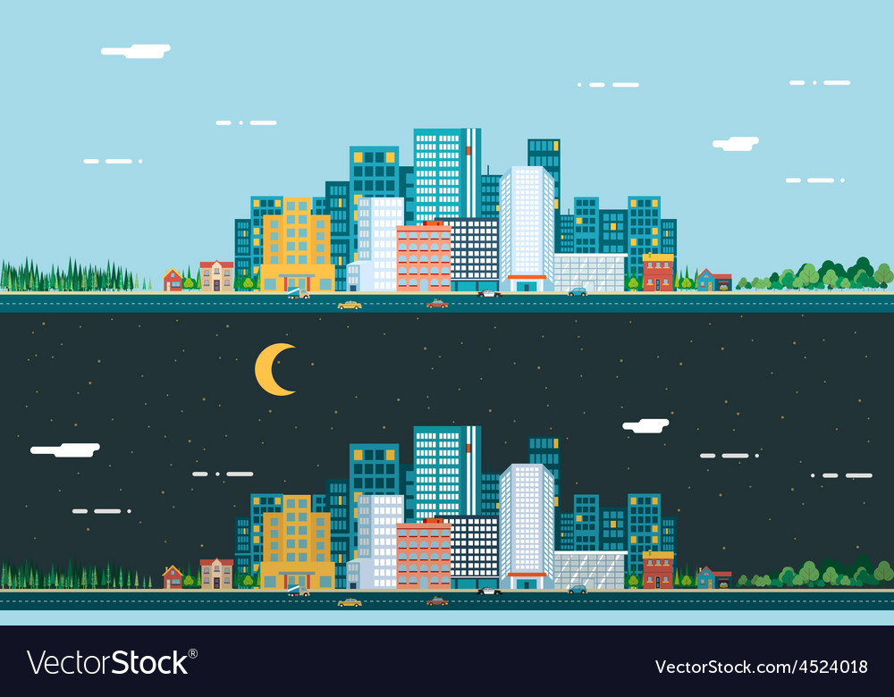 Day and night urban landscape city real estate vector | Price: 1 Credit (USD $1)